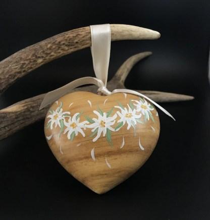 Cuore bombato in legno dipinto a mano cm 10 disegni vari