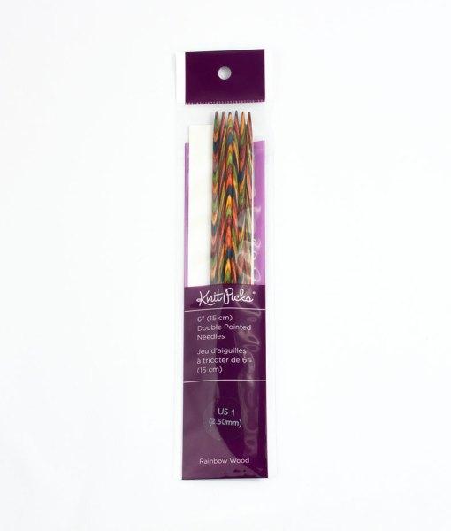 Aiguilles à double pointes 6 po Rainbow Wood de Knit Picks – 2,5mm