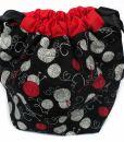 Sac à tricot avec pochette de rangement - Aux motifs de balles de laine sur fond noir