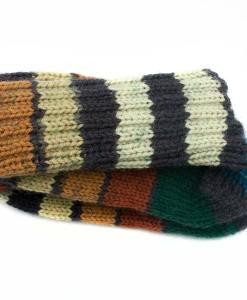 Bas de laine pour enfants fait main - Rayures rouillés - Artigina (03)