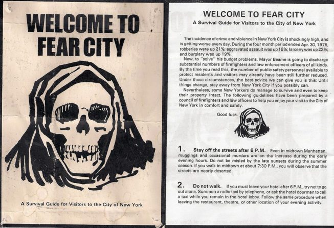 Welcome to Fear City - New York City pamphlet from the 1970s