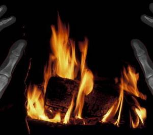 hands, bones, fire, X-ray, warmth, winter