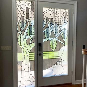 art in glass door