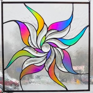 Stained Glass Panel Using Bevels and Dichroic Glass