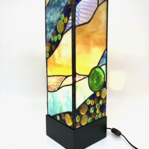 4 Sided Stained Glass Lamp