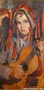 Paulo Ghiglia, La giovane chitarrista, 1835-1840, olio su cartone, cm 70 x 41