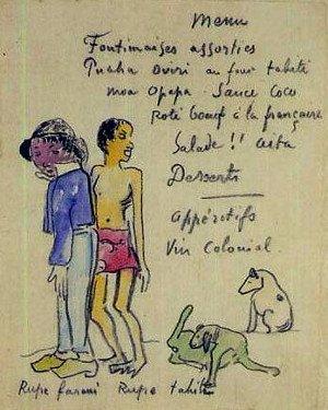 Rupe Farani Rupe Tahiti (Menu n. 5), dagli Onze Menus di Paul Gauguin, 1900, proprietà privata
