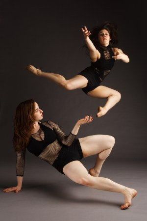 Deeply Rooted apprentices Nina-Rose Wardanian (jumping) and Jane Sawyer | photo credit Guy Rhodes