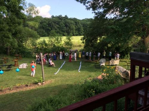 Photo of Rosa & Elric wedding beside the pond at Art in the Fields