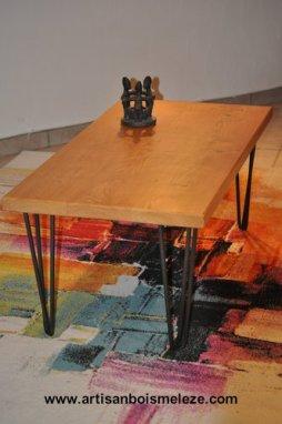 Table basse acier frene