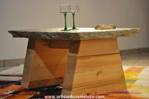 Table basse pierre mélèze