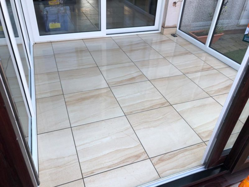 light floor tiles conservatory