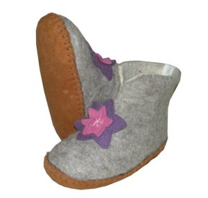 chaussons fleur en laine pour filles