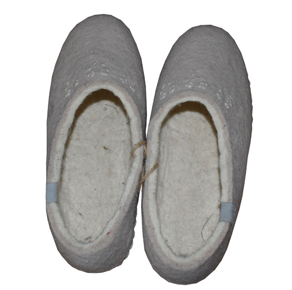 chausson beige laine