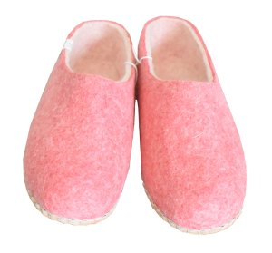 chaussons femme en laine rose