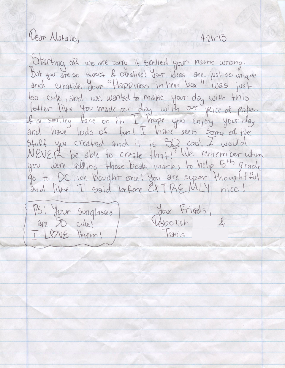 thank you letter to Natalie 2013 960
