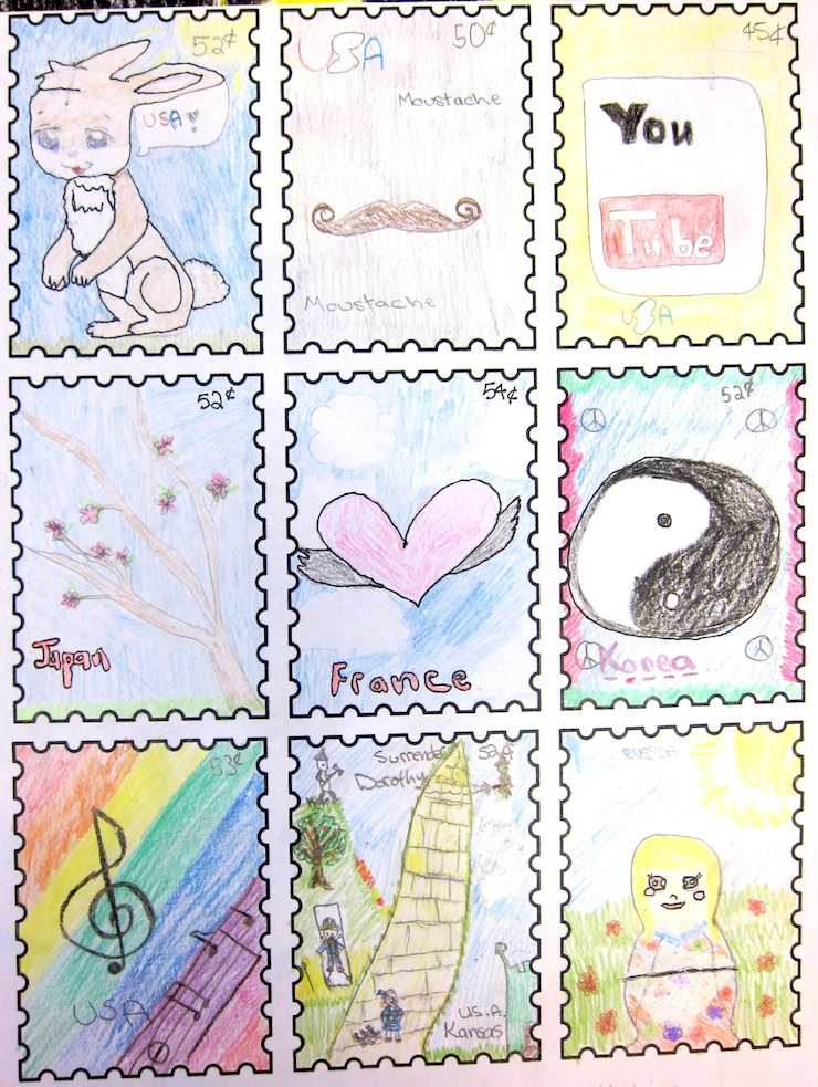 Postage Stamp Art Project Art Is Basic An Elementary Art Blog