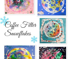 Coffee Filter Snowflakes with 1st grade