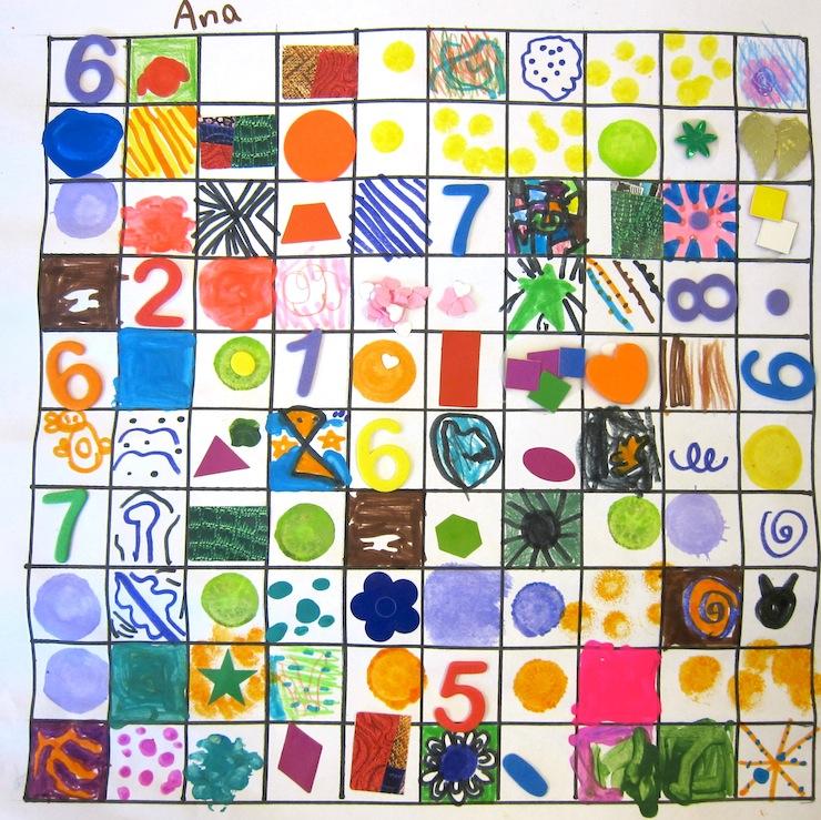 100 squares art lesson