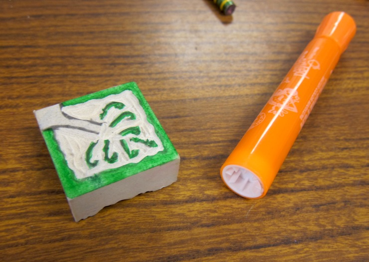 carving rubber stamps with kids