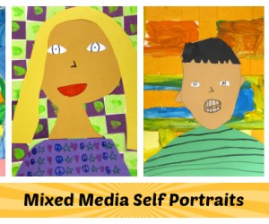 Mixed Media Self Portraits by 3rd Grade