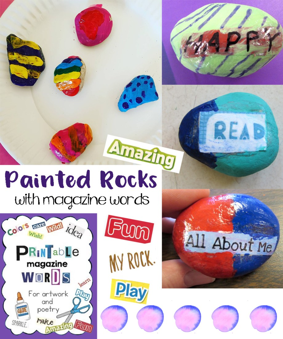Painted rocks with magazine cut outs art is basic an elementary painted rocks with magazine words publicscrutiny Choice Image