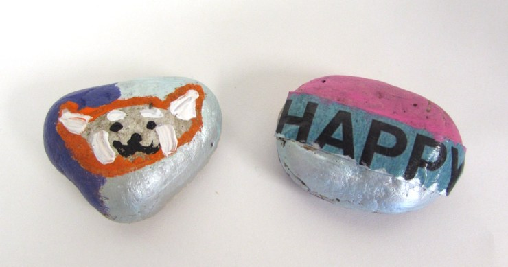 Painted Rocks with Magazine Words00001
