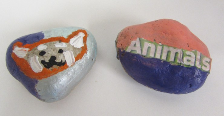 Painted Rocks with Magazine Words00002