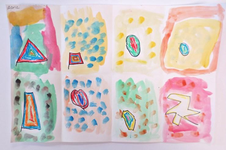 Watercolor Shape Artwork by Kindergarten