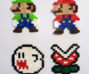 Perler Beads- Mario and Among Us