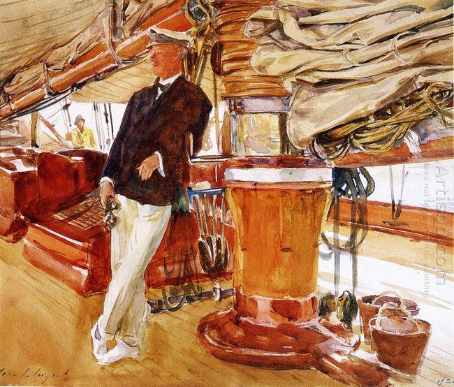 Capitán Herbert M Sears en cubierta de la goleta Yate CONSTELACI