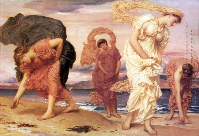 Greek Girls Picking up Pebbles