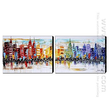 Hand Painted Oil Painting Architecture Wide
