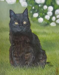 chat-noir-peinture-huile