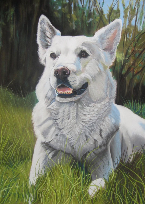 faire un chien blanc aux pastels