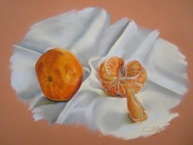 mandarines aux pastels secs