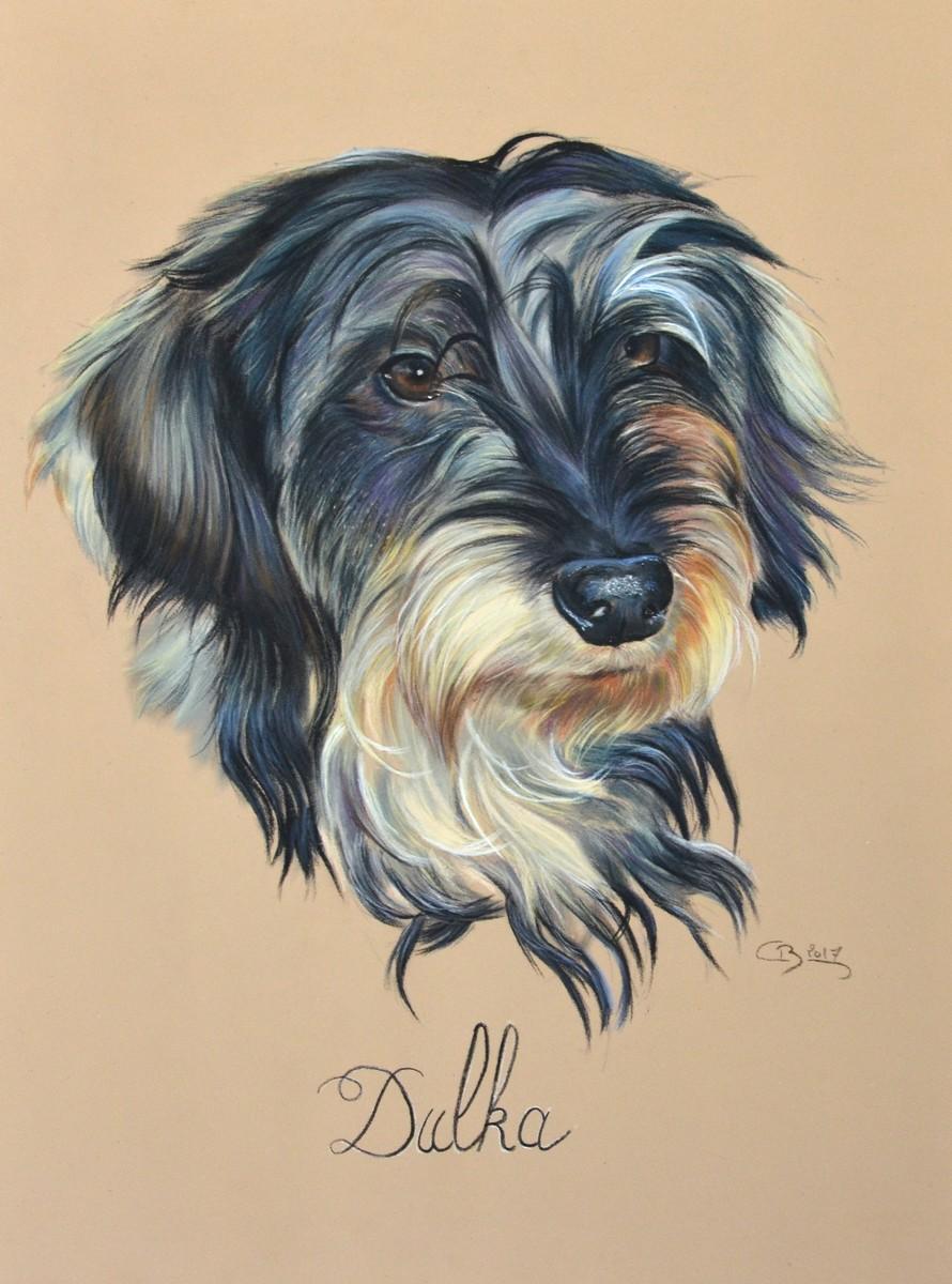 portrait teckel pastel