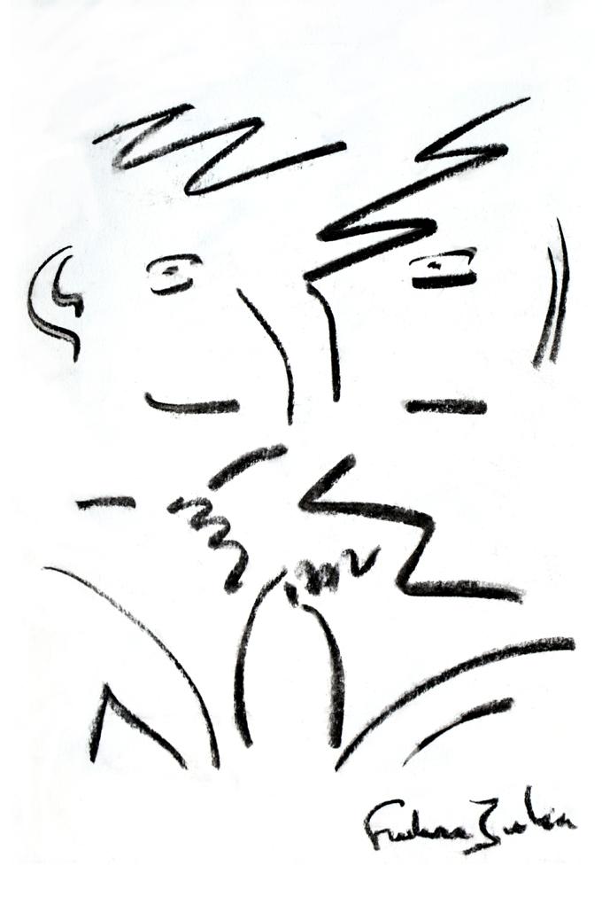 FREDERIC JULIEN-Le regard des amies Fusain sur papier-80×120 cm