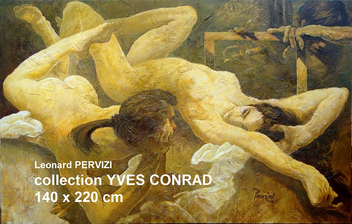 Leonard PERVIZI-140X220cm-DEUX MODELES peintre. huile-YVES CONRAD