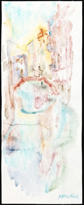MARTINET MM-Soir-Aquarelle-20×50 cm