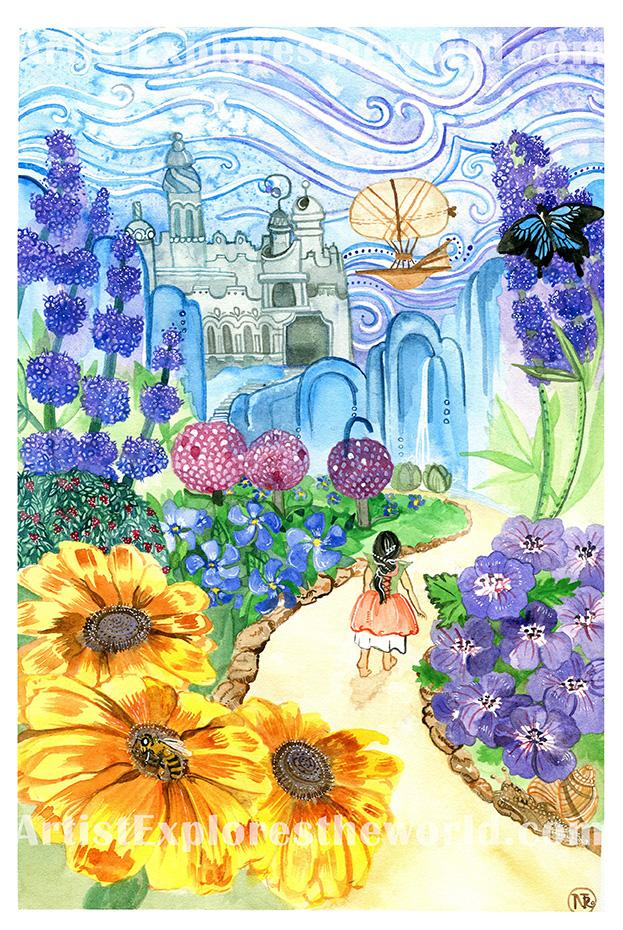 Into the Garden, Watercolor Illustration, 2017