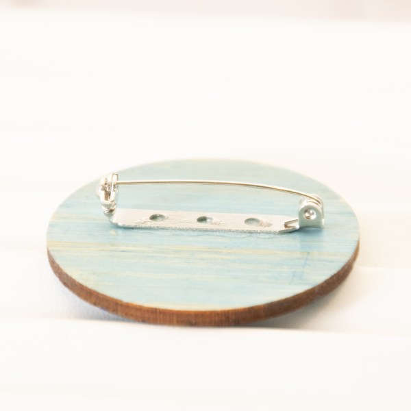 Three Waves Laser cut bamboo Ocean Pin Back