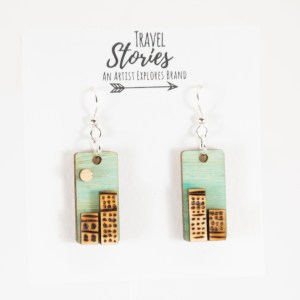 Wood burned city earrings