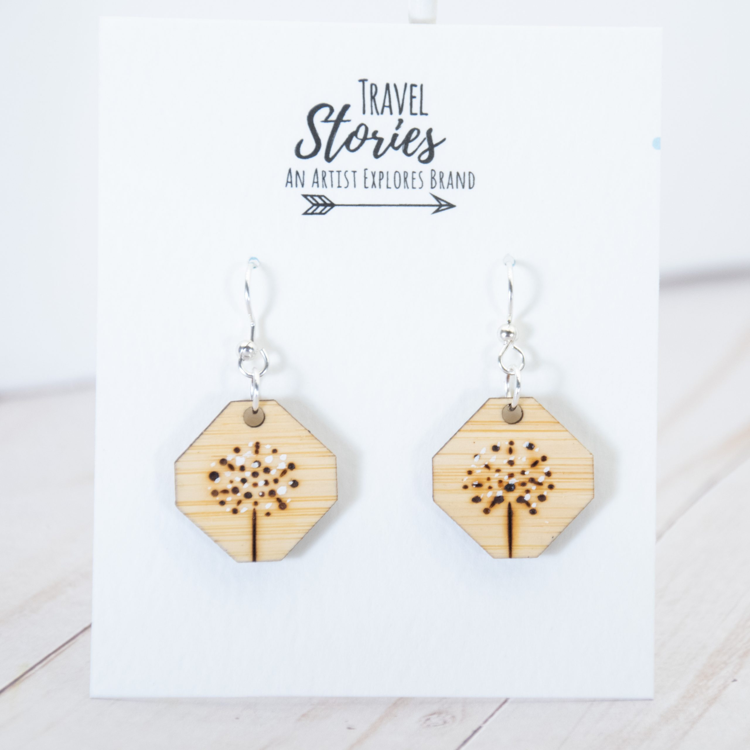 Wood burned dandelion earrings