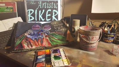 Image of an art journal with a mantis shrimp painting