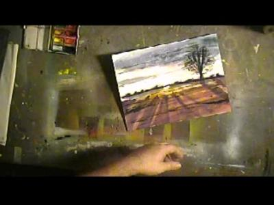 Image of a watercolor sunset on my art bench