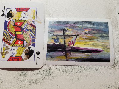 Acrylic on a playing card#acrylic #minipainting #micropainting #atc #artisttradingcard #artcard