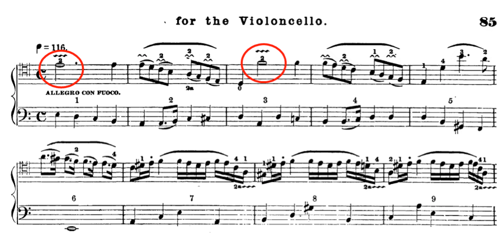 Presence of vibrato with graphic squiggle in some musical examples from Romberg's method