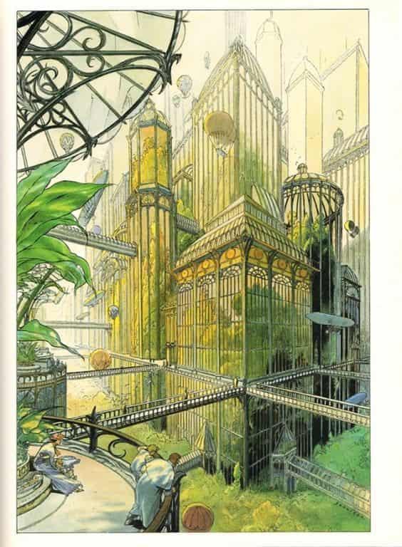 Francois Schuiten illustration painting 2d art artist greenery buildings