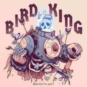 Stefan Große Halbuer artist art bird king 2d painting illustration flaming skull head